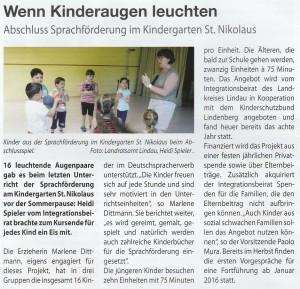 Abschluss Sprachförderung im Kindergarten St. Nikolaus