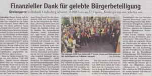 Vielen Dank an die Volksbank Lindenberg und an alle Gewinnsparer für 1250 Euro!