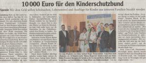 Spendenübergabe: 10.000 Euro vom Lions-Club