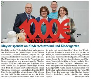 1000 Euro von Mayser – herzlichen Dank!